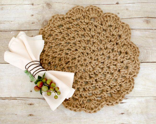 Jute Crochet Placemats ... Free Pattern | Muster, Häkeln und Blumen ...
