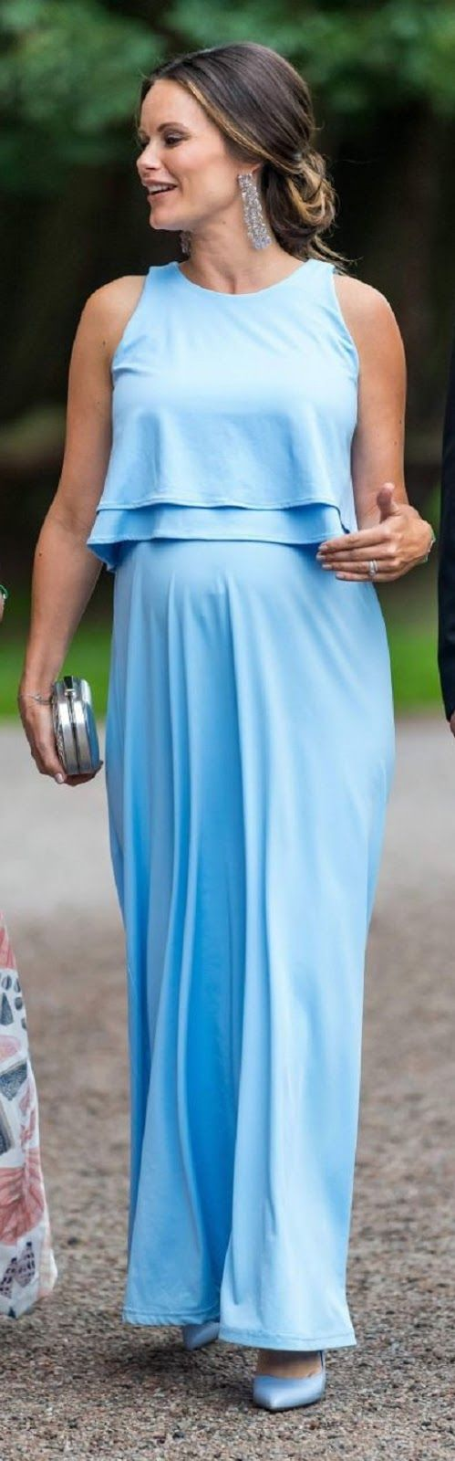 Princess Sofia of Sweden showcases her bump in a stunning pale blue ...