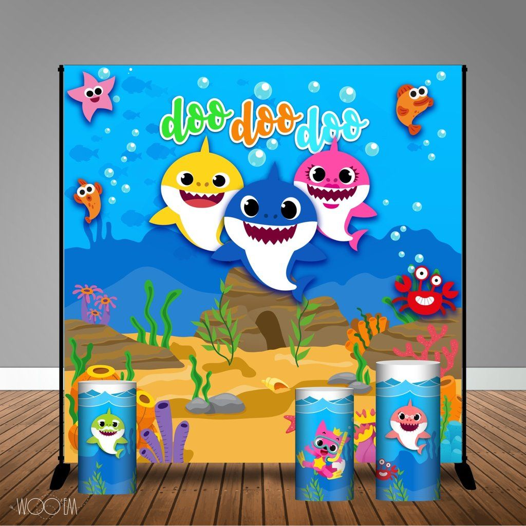 Baby Shark Themed 8x8 Banner Backdrop Step Repeat Design Print And Ship Shark Theme Birthday Shark Themed Shark Themed Birthday Party