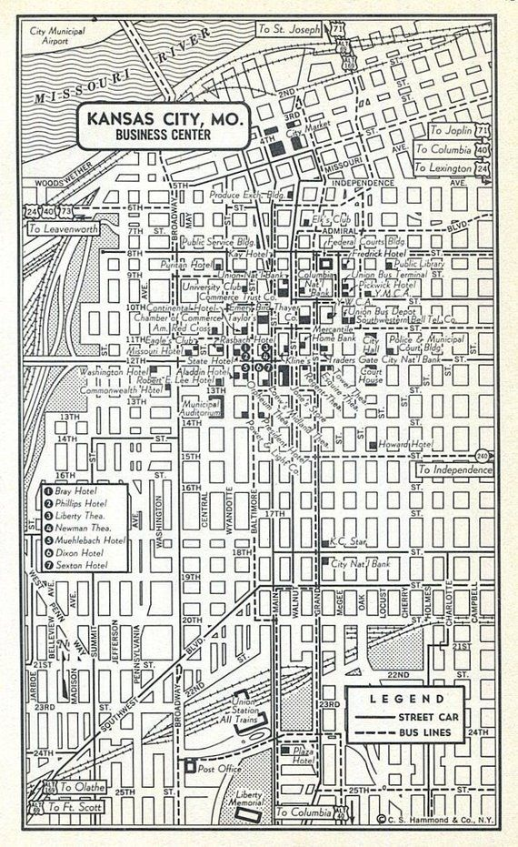 Los Angeles CA Kansas City Missouri Downtown Maps Vintage ...