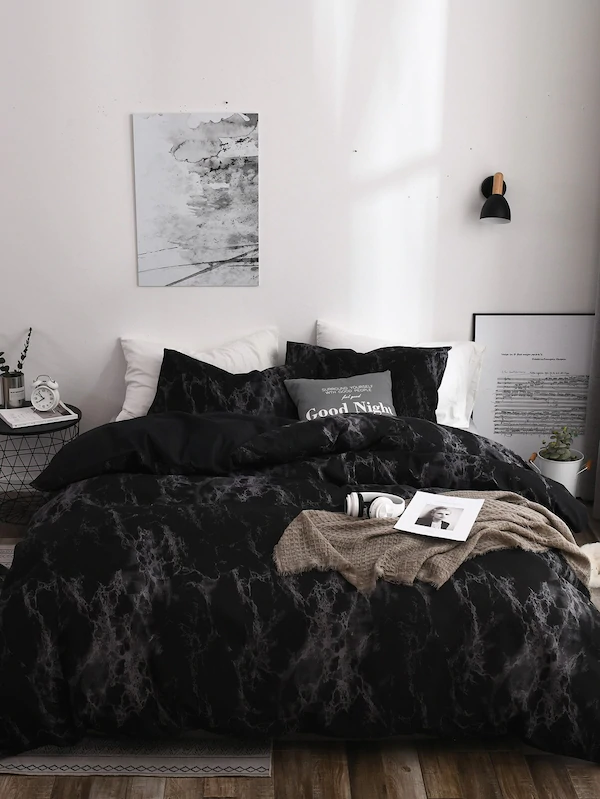 Marble Print Sheet Set Black Bedroom Design Marble Bedroom Modern Bedroom