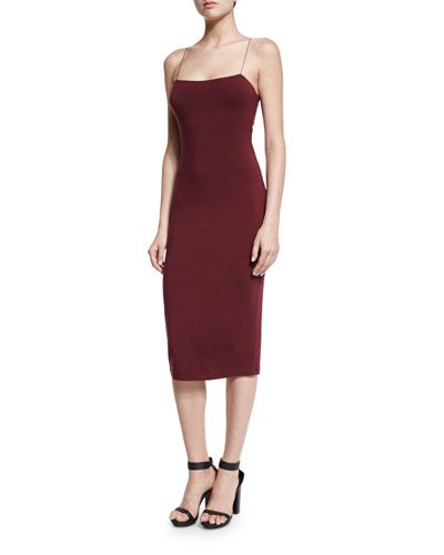 TCVQP T by Alexander Wang Strappy Camisole Midi Dress, Wine