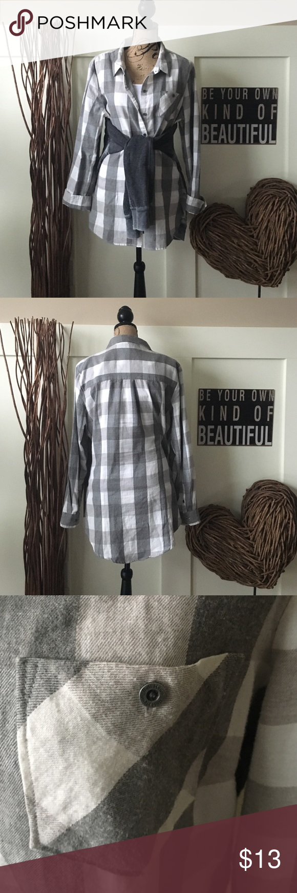 Ruff Hewn gray plaid flannel top This long plaid flannel is so soft and perfect by itself or layered.  Two tone light and dark gray. Ruff Hewn Tops