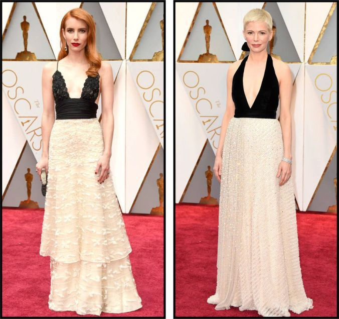 Oscar 2017 red carpet Emma Roberts and Michelle Williams