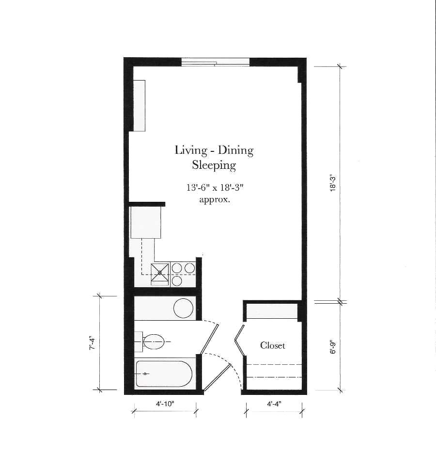 Small apartment floor plans 1 bedroom gurus floor for Efficiency floor plans