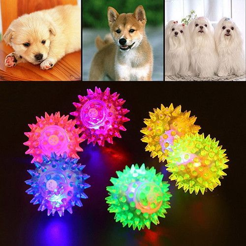 Wholesale Dog Puppy Cat Pet Led Squeaky Rubber Chewing Bell Ball