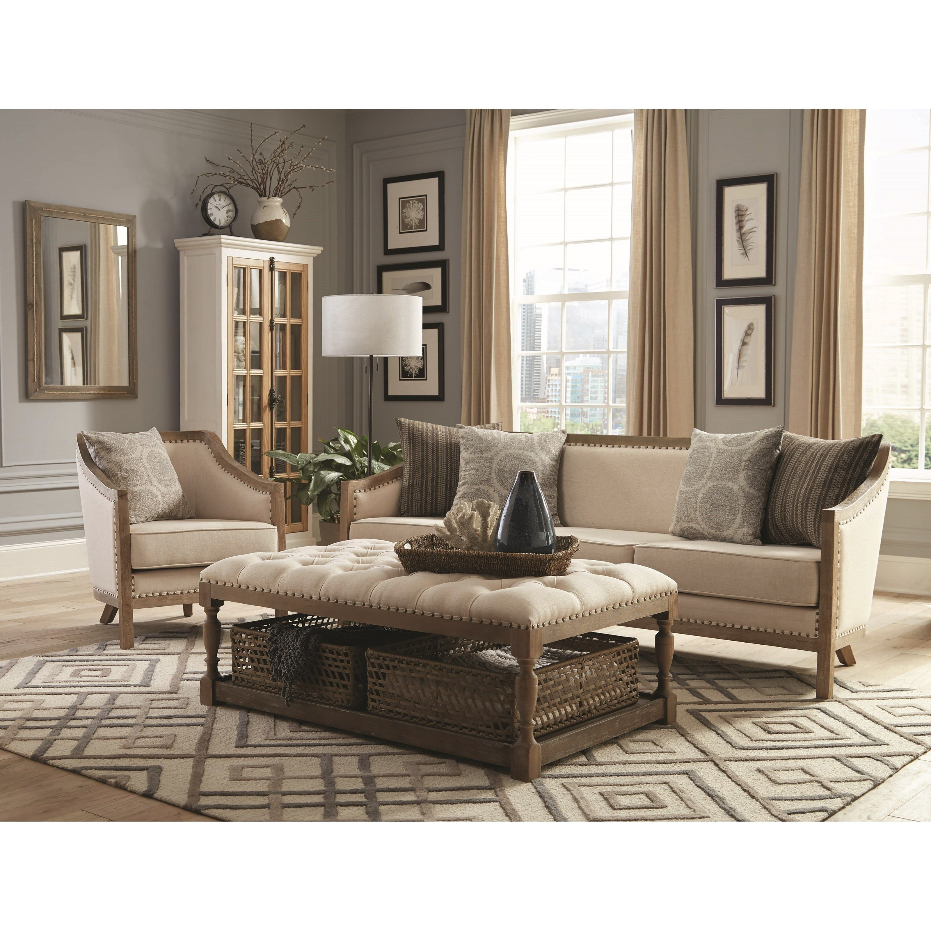 Vintage Inspired Sofa With Nailhead