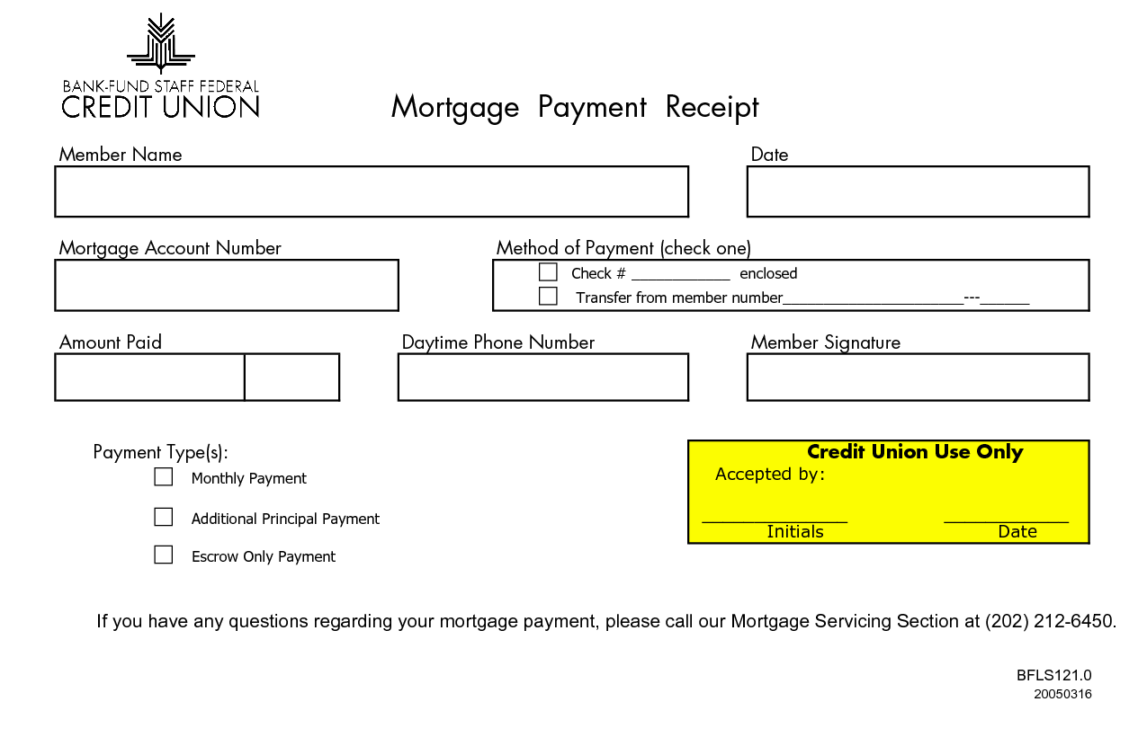 Monthly Mortgage Receipts  Mortgage Payment Receipt Member Name