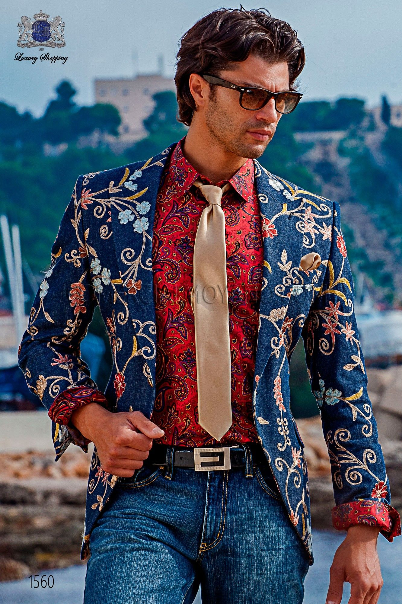 Americana tejido denim bordado con solapas a punta y 1 botón ... ceefc46670f