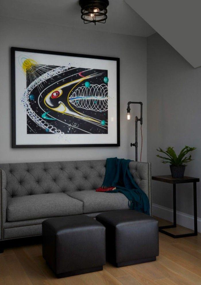 industrielampe erholungsbereich mit beleuchtung im industriellen - hängelampen für wohnzimmer