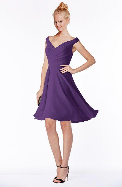 4bb6c0505d61 ColsBM Chloe Dark Purple Classic Fit-n-Flare Zip up Chiffon Knee Length  Ruching Bridesmaid Dresses