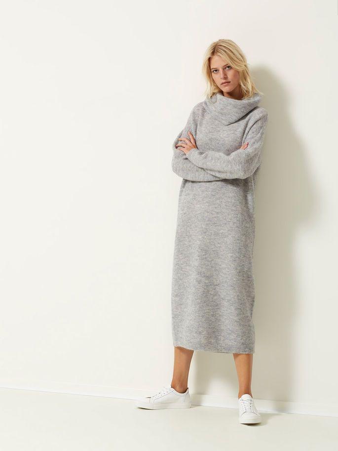 MOHAIR - KNITTED DRESS, Light Grey Melange, large
