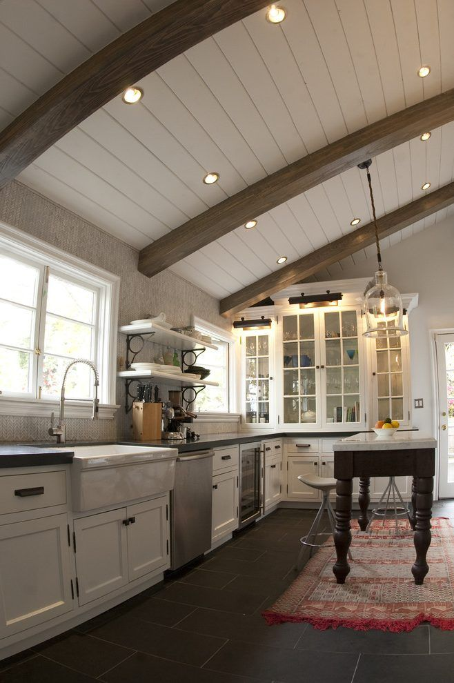 Exposed Beam Ceiling Lighting Kitchen Rustic With Wood