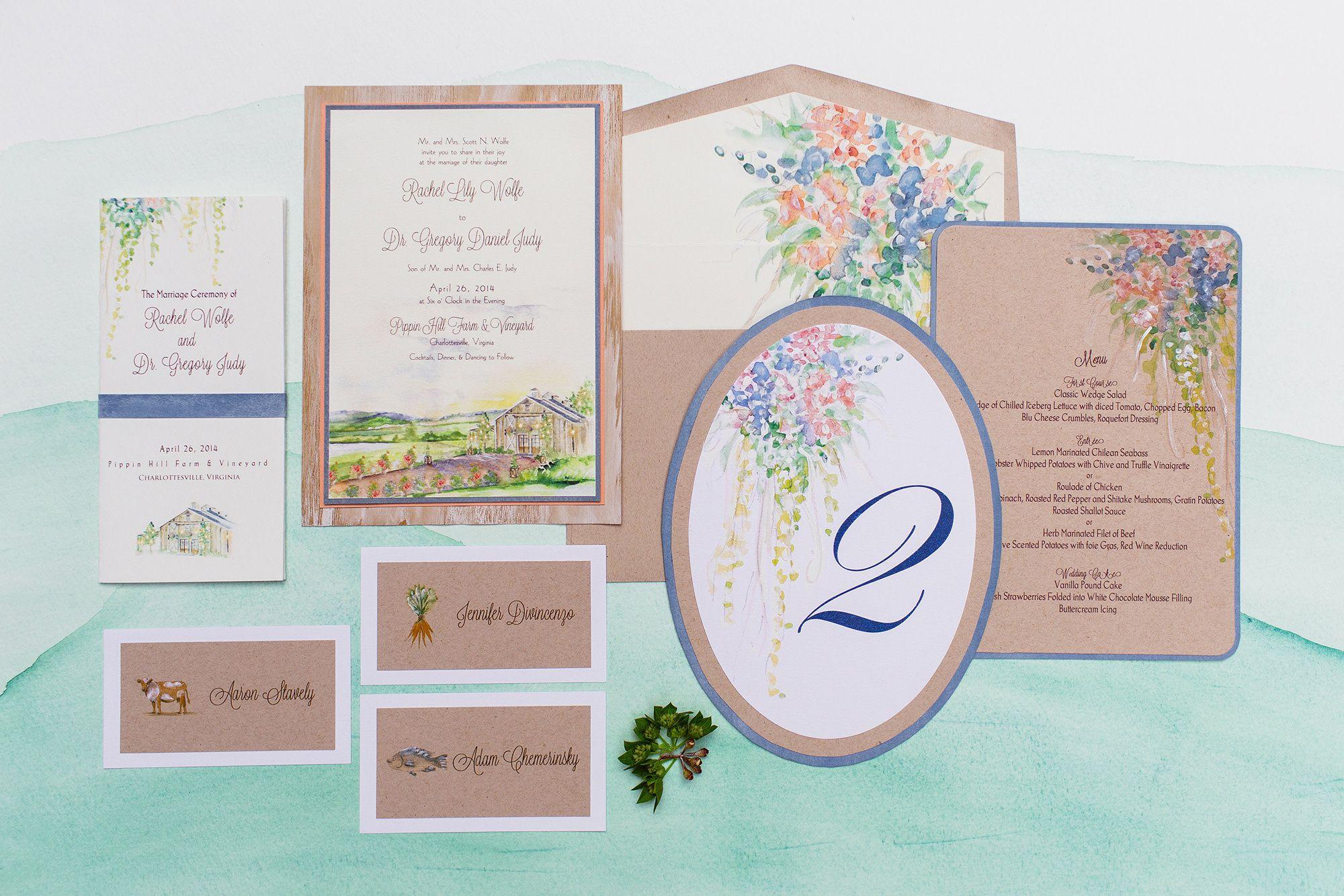 Painted Landscape Wedding Invitations   Weddings and Wedding