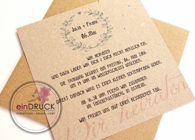 Eure Einladungskarte Zur Hochzeit Mit Individuellem Text Auf Der Vorder   Und Rückseite. Die Texte Können Individuell Nach Euren Wünschen.