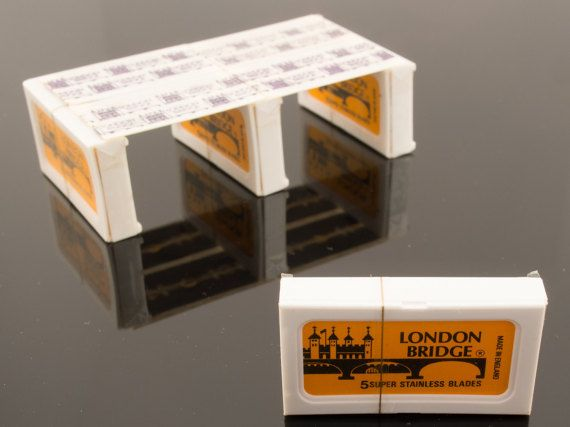 Vintage London Bridge 5 Super Stainless Blades Double Edge Safety Razor Blade Box Of 5 Made In England By Wilk Safety Razor Blades Safety Razor Vintage London