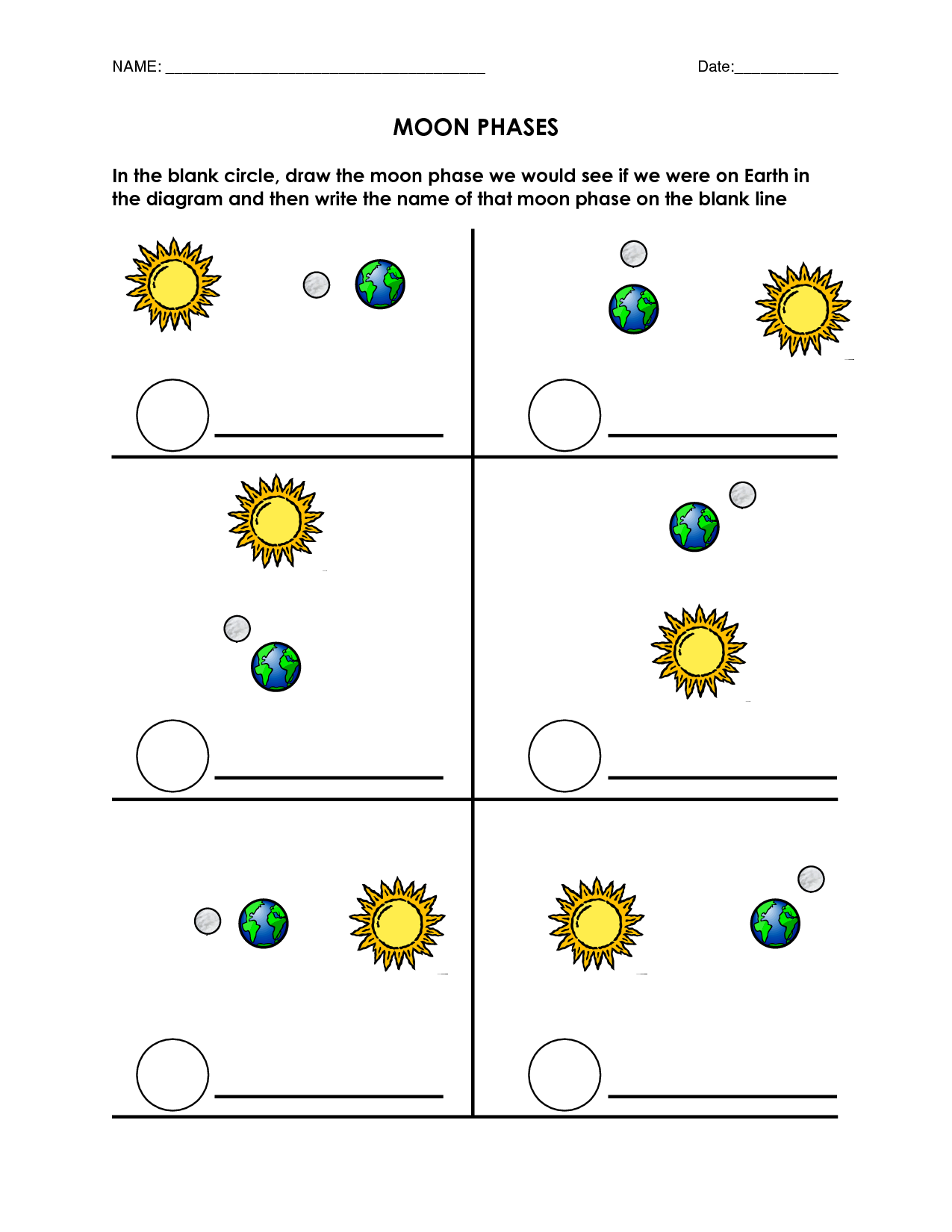 Blank Moon Phases Worksheet Moon Phases Pinterest Moon Phases