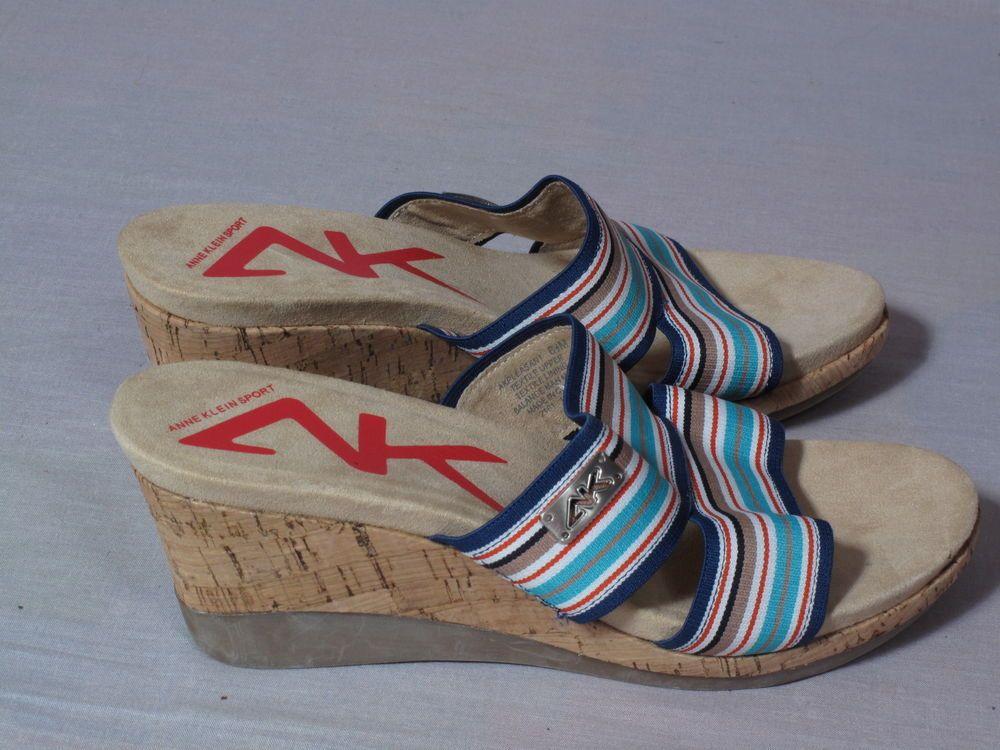 Women's Anne Klein Sport Sandals MultiColor Canvas Size 6