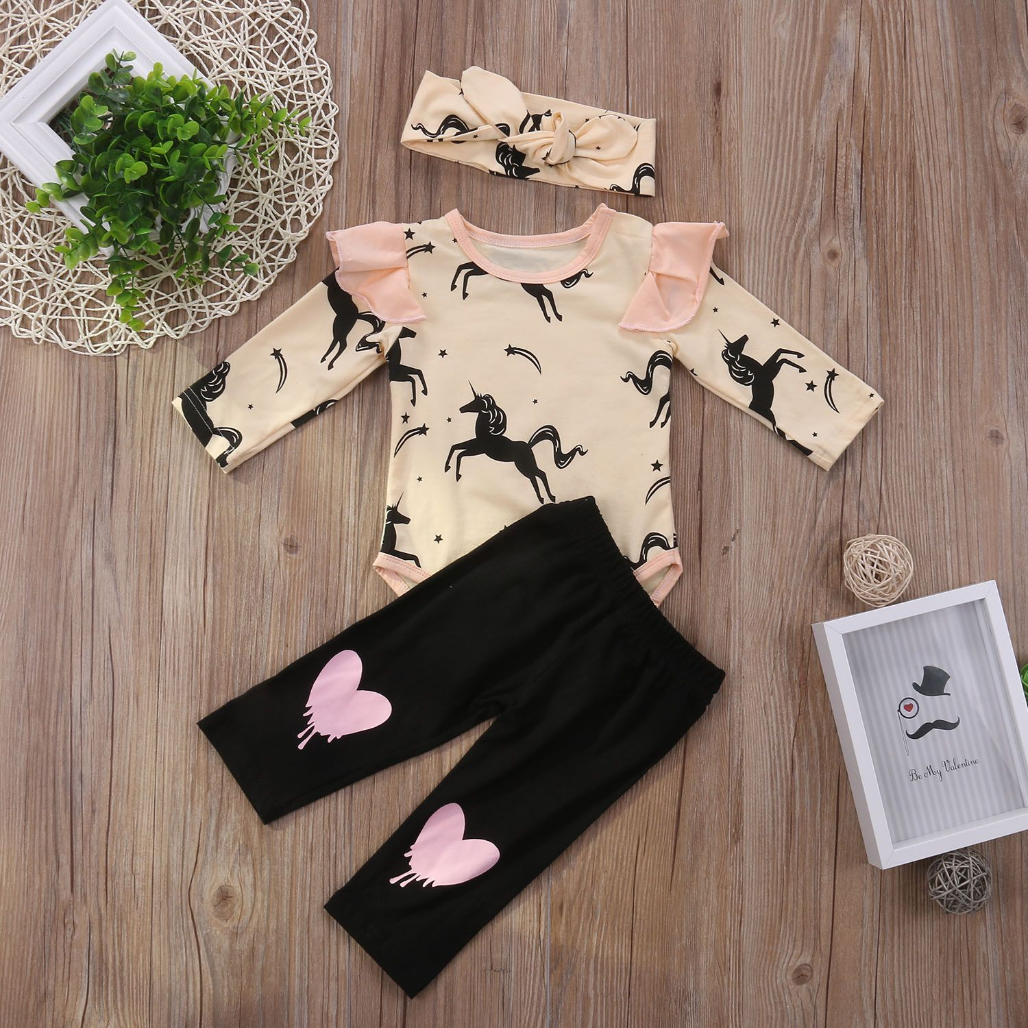 3pcs Newborn Kids Baby Girl Clothes T-shirt Tops+Long Pants+Headband Outfits Set