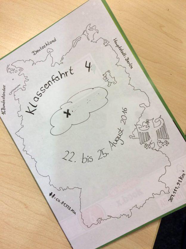 Selbst Gemaltes Deckblatt Fur Das Reisetagebuch Der Klassenfahrt