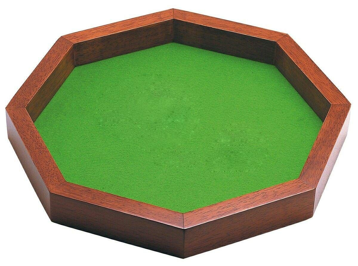 SKAVIJ Dice Tray for Dice or Board Games Wooden Octagon