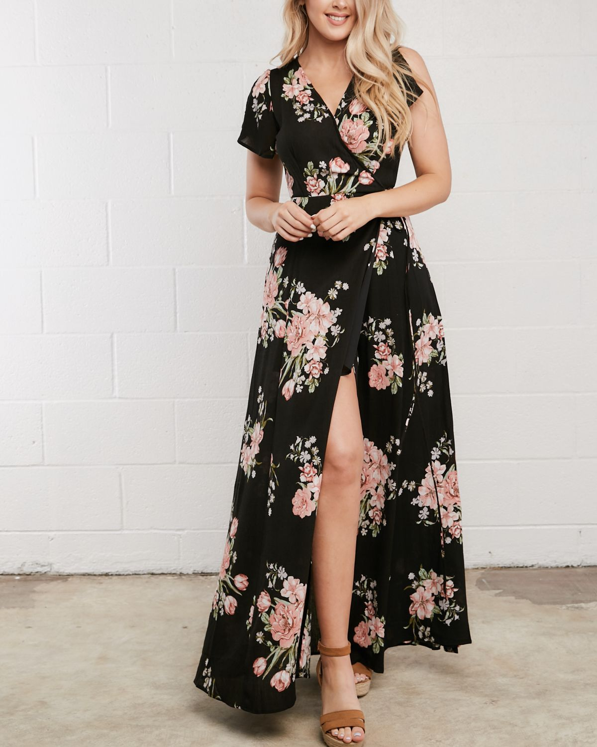 Floral wrap maxi dress wedding guest outfit idea spring summer