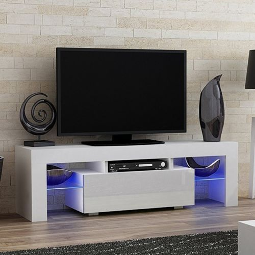 White High Gloss Tv Cabinet Stand Ultra Modern Television Unit With