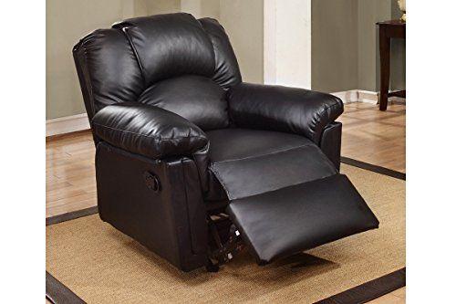 Super Black Color Modern Style Bonded Leather Recliner Recker By Customarchery Wood Chair Design Ideas Customarcherynet