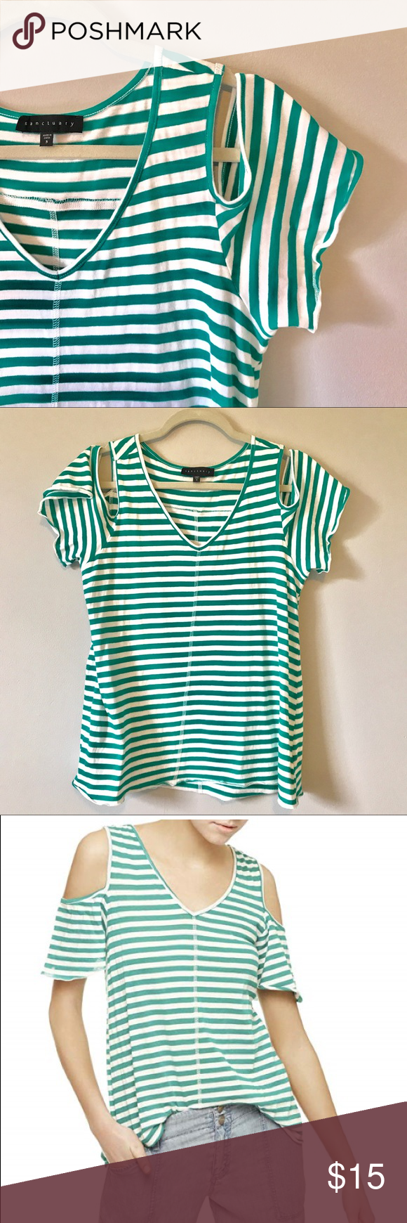 cebb8f13f5975 Dahlia Striped Cold Shoulder Top White turquoise. 100% cotton. Sanctuary  Tops Tees - Short Sleeve