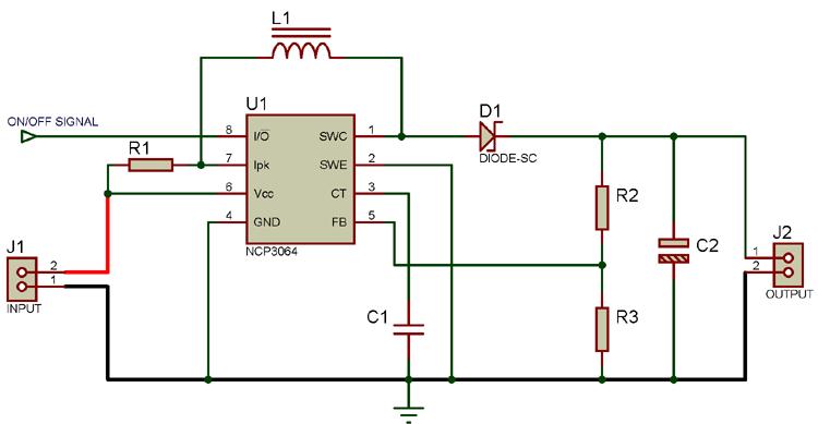 Circuit Diagram For Boost Converter Using Ncp3064 Dc Dc Converter Dc Dc Converter Converter Inductors