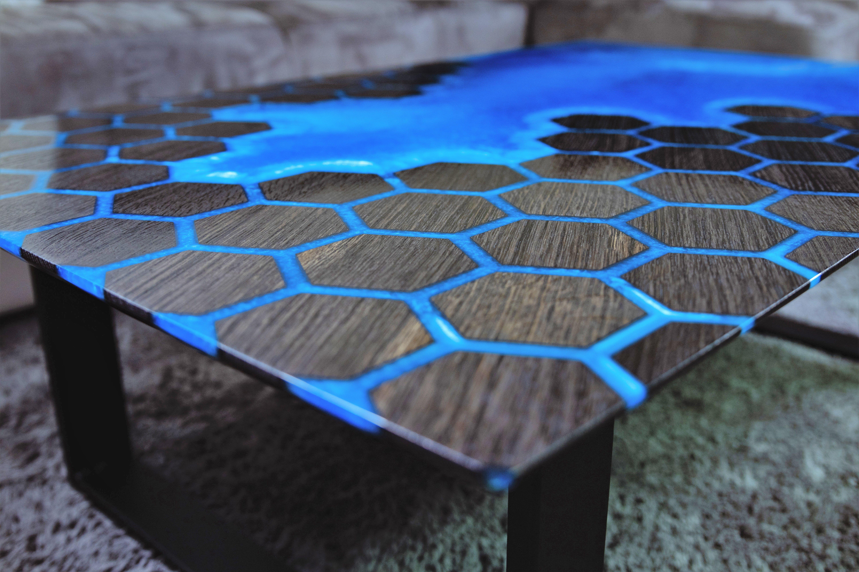 Photo of Incredible Bog Oak & Epoxy Resin Coffee Table. The Bog Oak was machine cut into …