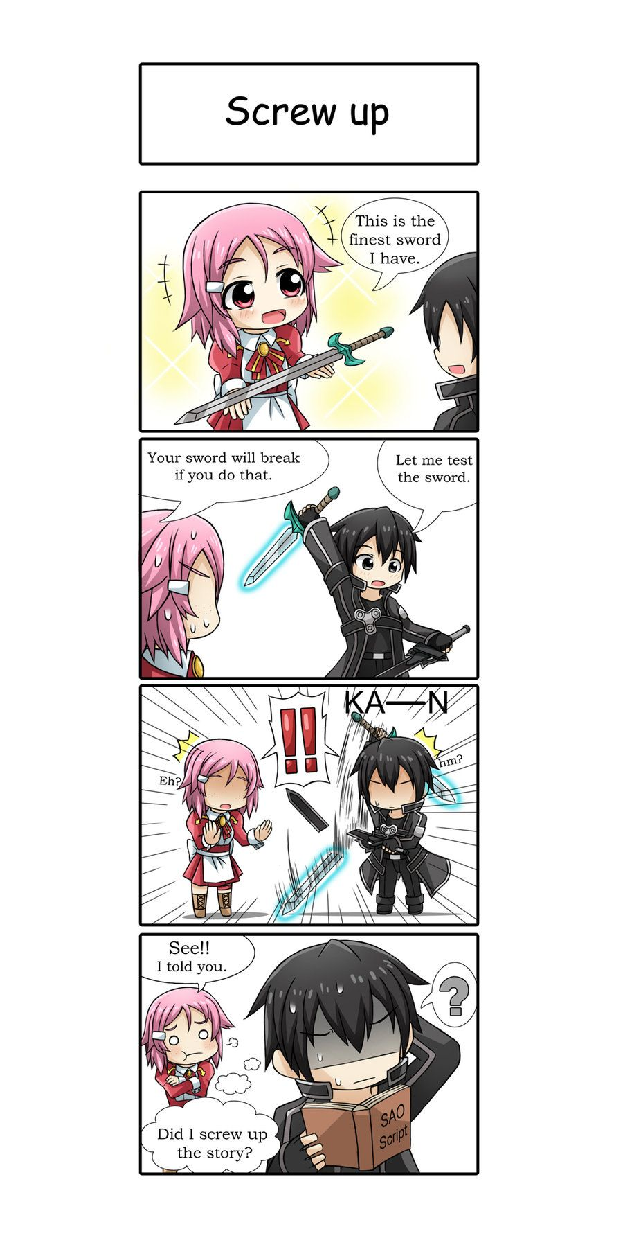 God Kirito when someone tells you that's their best sword you don't test their level 40 someodd blade against like a level 74 wHAT DID YOU THINK WAS GONNA HAPPEN?!?