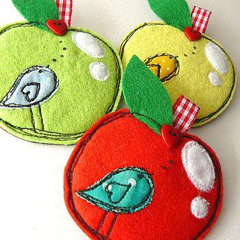 apple brooch - love the dark thread on bright felt