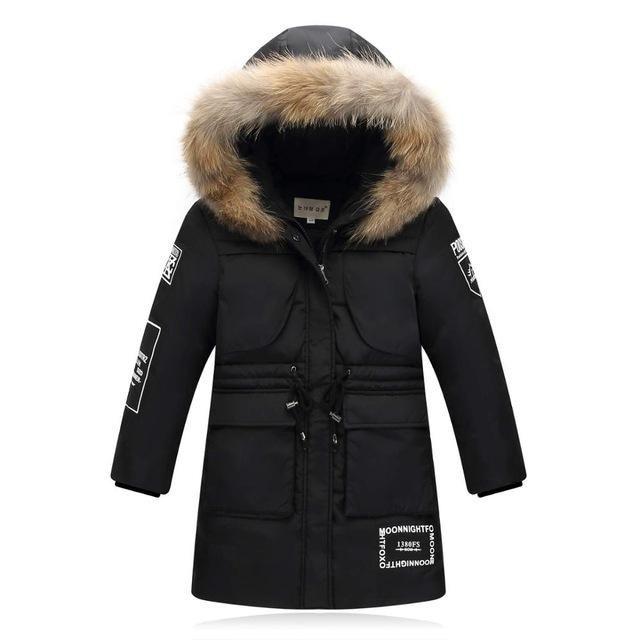 f918c7ddf Fashion Long model Children s Down Jackets coat fur Big boy Coat ...