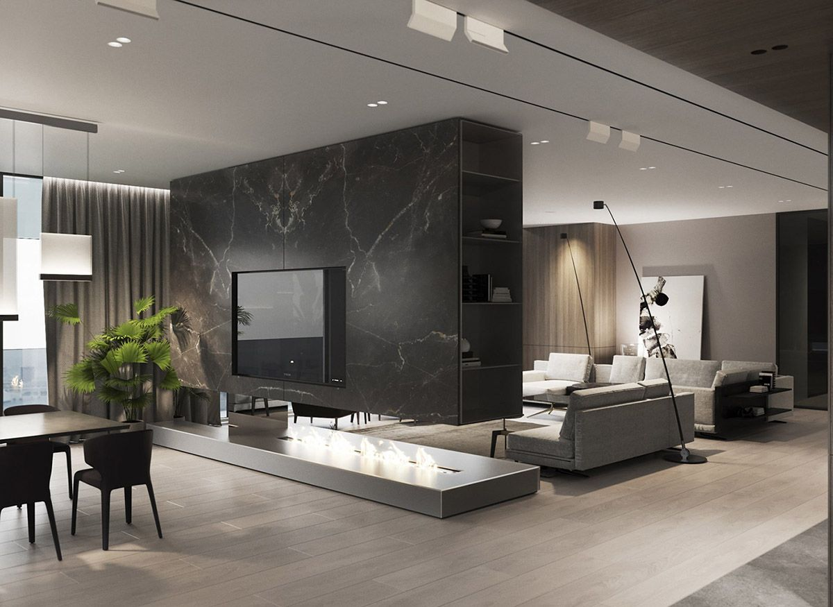 Luxury Modern Interior With Unified Wood Clad Decor Modern Home Interior Design Modern Houses Interior Luxury Living Room Design