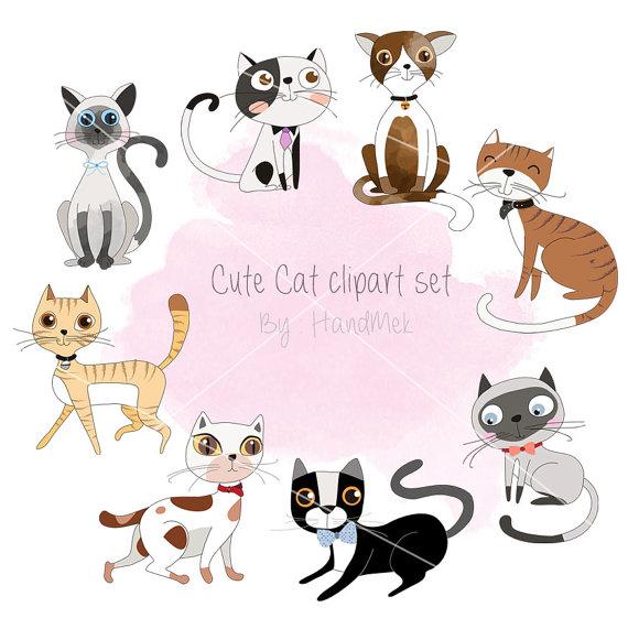 Cute Cat Clipart Kitty Clipart Set Instant Download Png File 300 Dpi Cat Clipart Clip Art Kawaii Panda