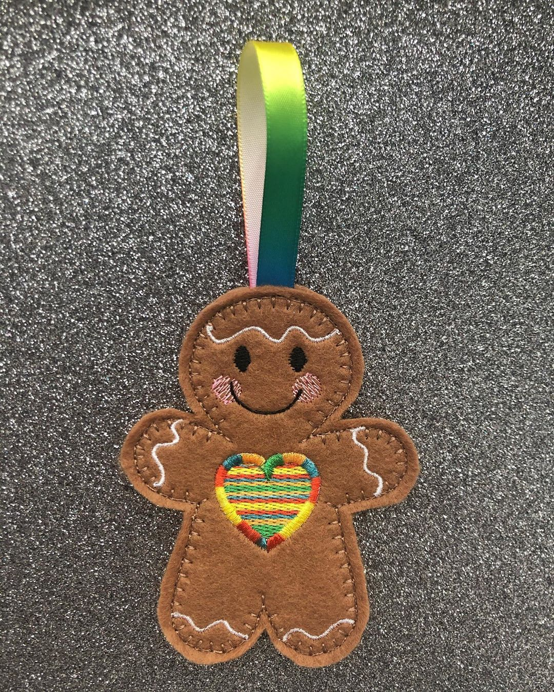 """Peacock Embroidery UK on Instagram: """"✨Just can't live without them... new addition to gingerbread collection...💛🧡❤️💚💜💙✨ . . . . . #gingerbreadman #hangingdecoration…"""""""