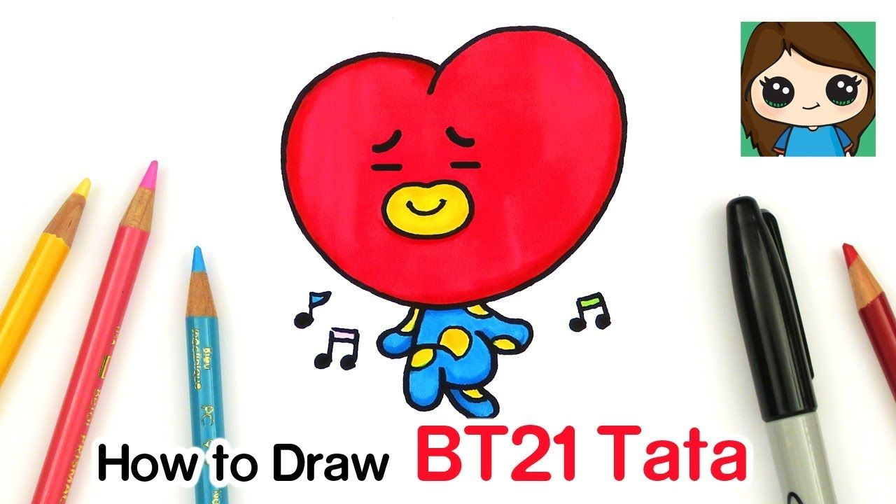 How To Draw Bt21 Tata Bts V Persona Youtube Drawing Lessons For Kids Easy Cartoon Drawings Cute Drawings