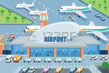 illustration of airport on the outside photo