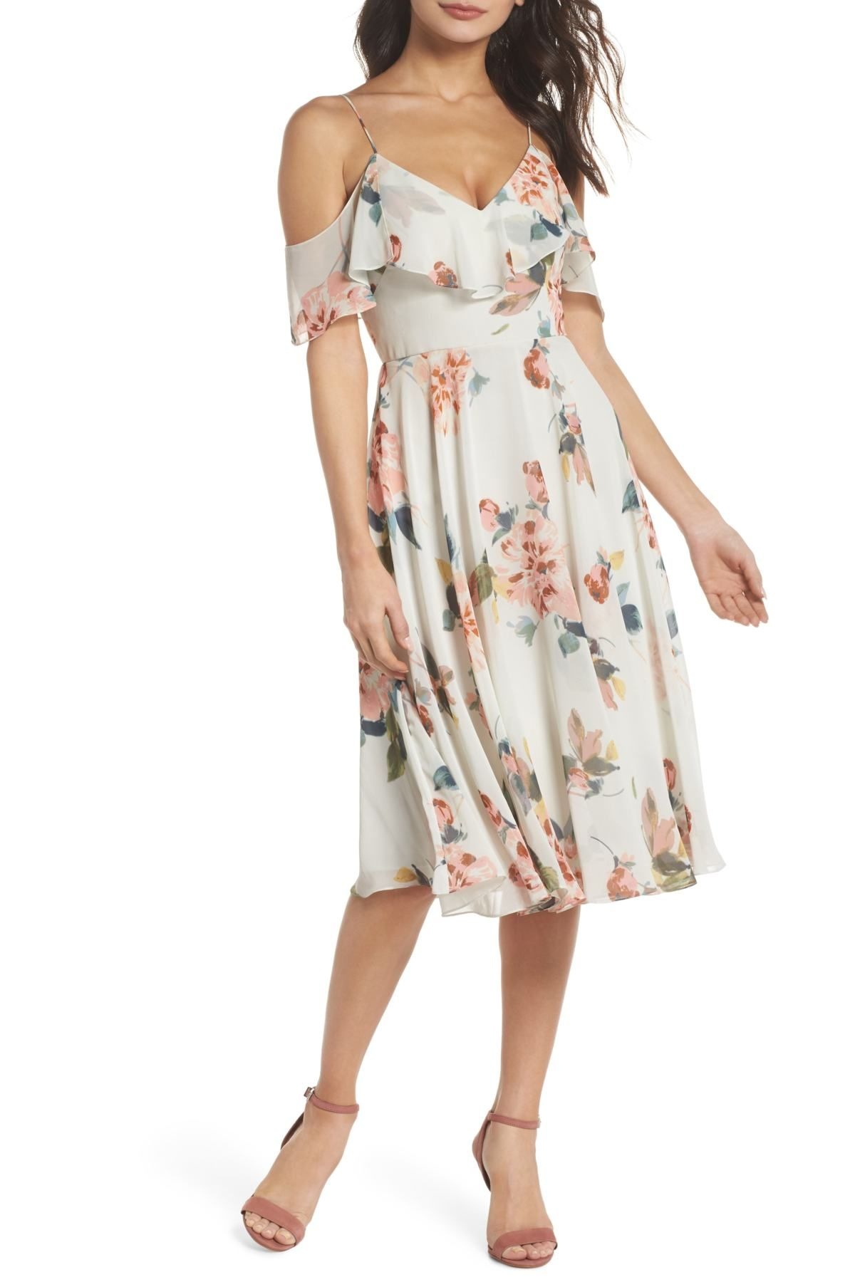 7c1470994bc6 Kelli Ohana Print Chiffon Cold Shoulder Dress by Jenny Yoo Collection on  @nordstrom_rack