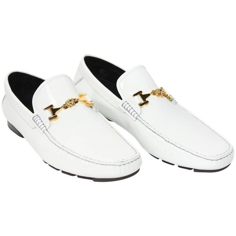 Versace White Patent Leather Loafers