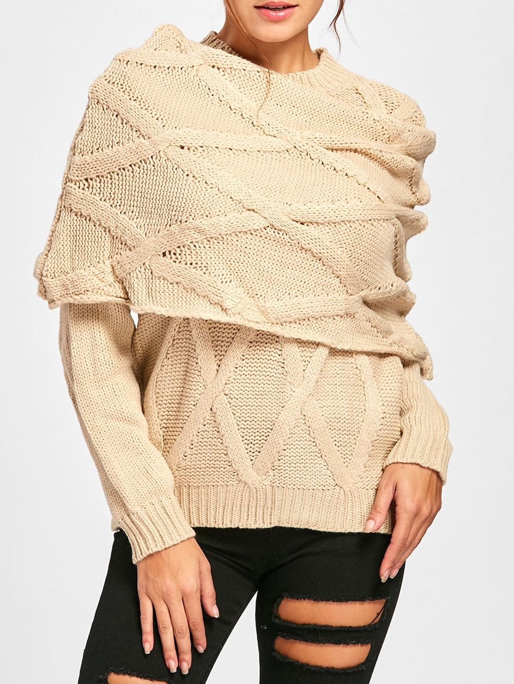 08c9fad4cb614 Long Sleeve Cable Knit Sweater with Scarf - BEIGE L