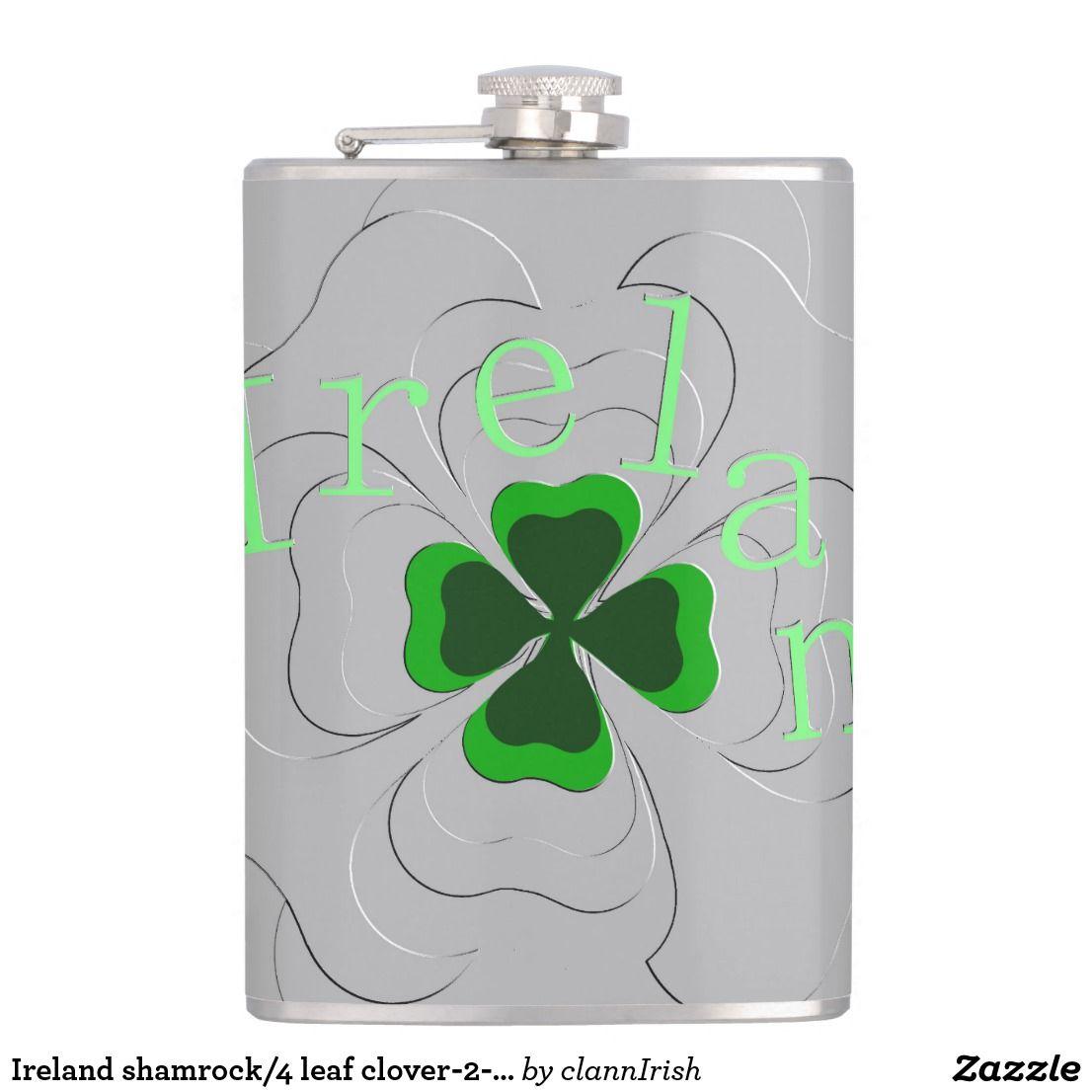 Ireland shamrock/4 leaf clover2embossed design flask