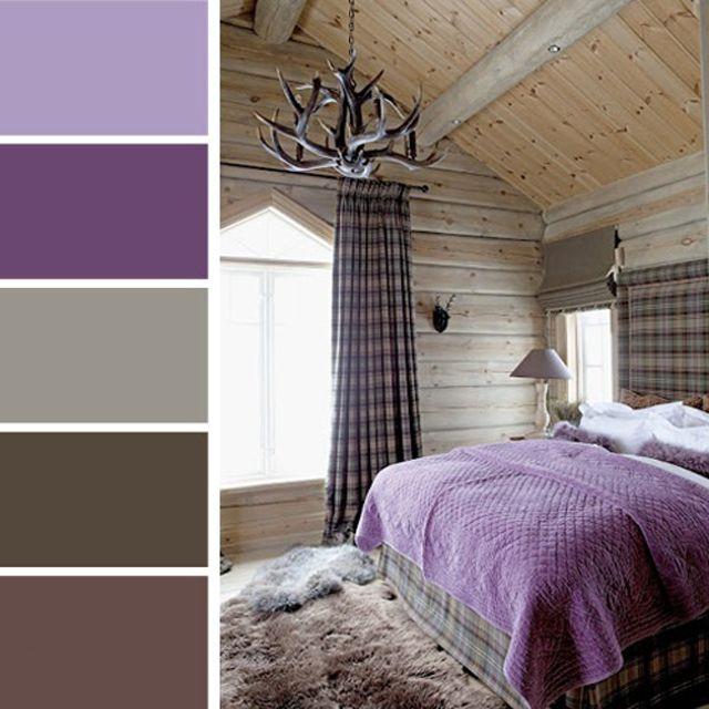 esprit rustique dans une chambre coucher moderne en violet - Couleur De Chambre A Coucher Moderne