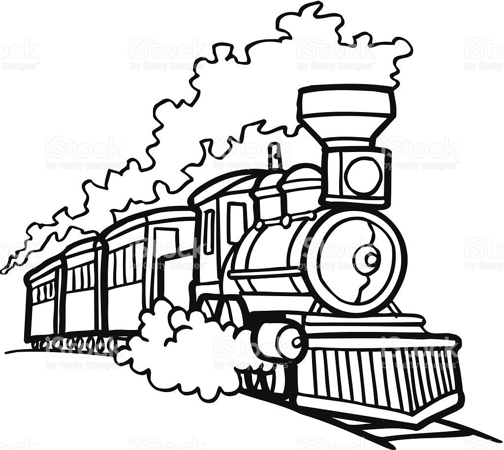 Old Choo Choo Train Vector Cartoon Clipart Design