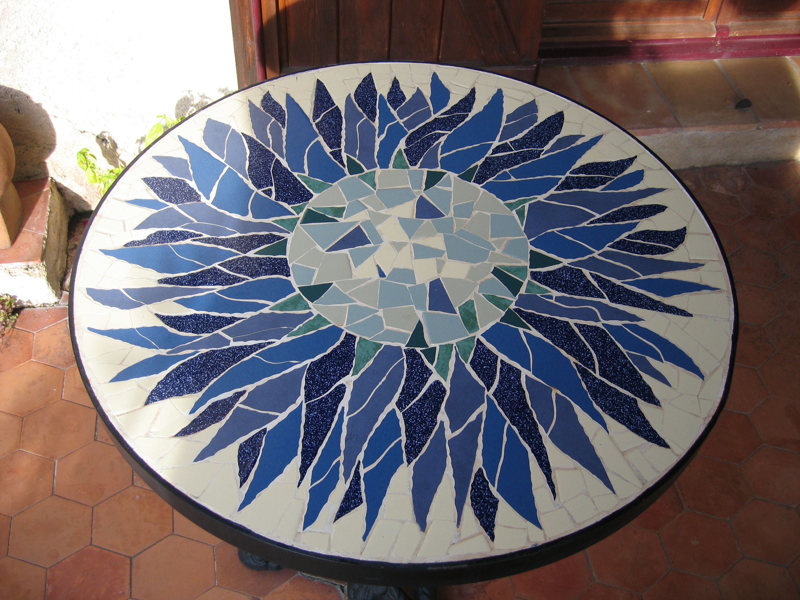 """Bistro table-top """"carline thistle"""" with ceramic tiles ..."""