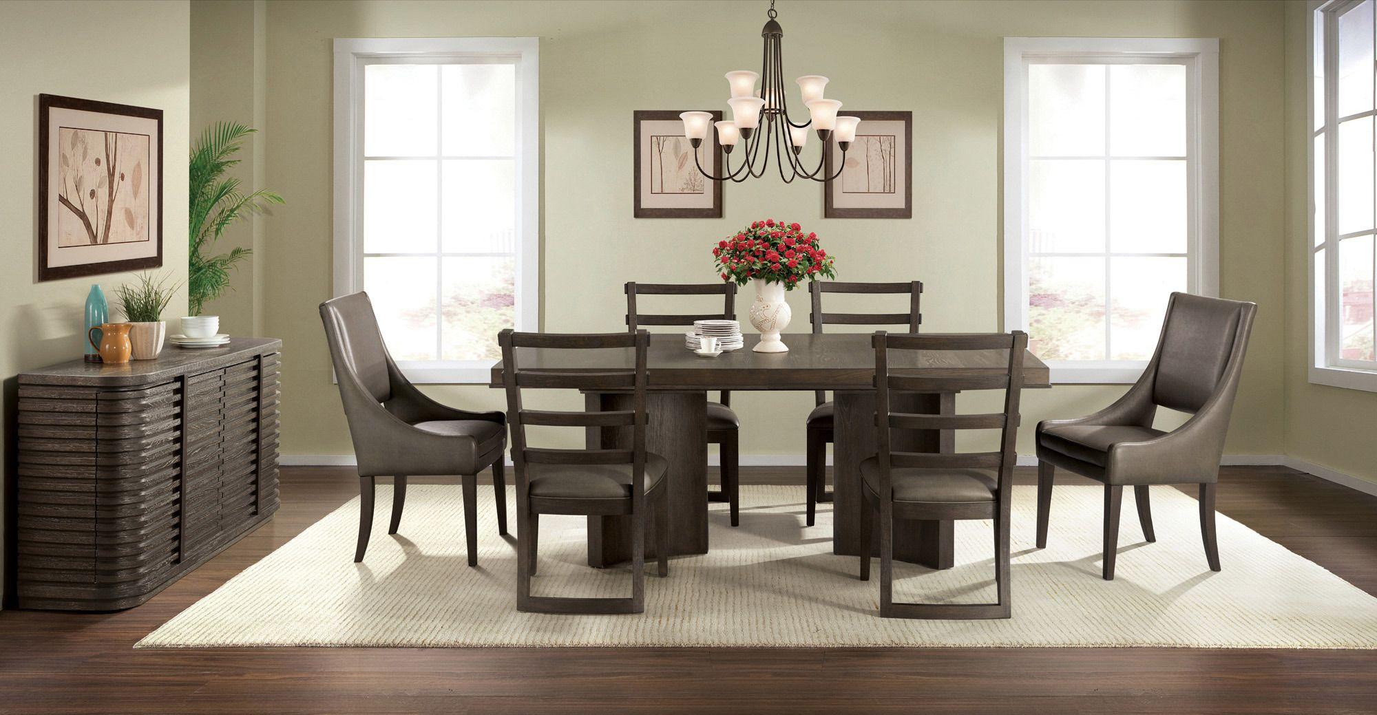Precision Walnut Pedestal Dining Room Set Riverside Furniture