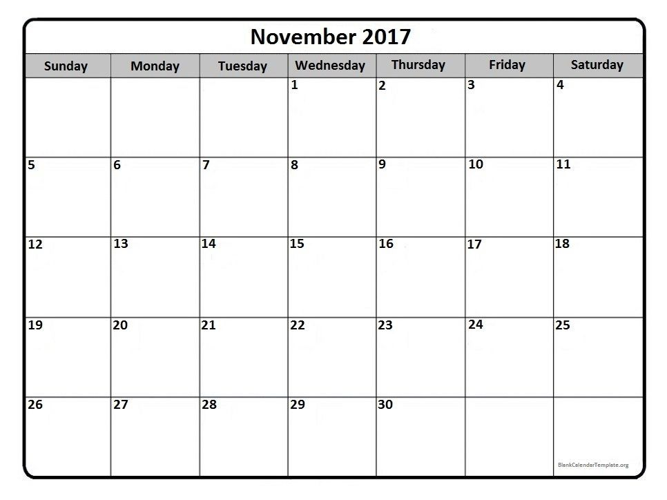 November 2017 Monthly Calendar Printable November2017 Calendar
