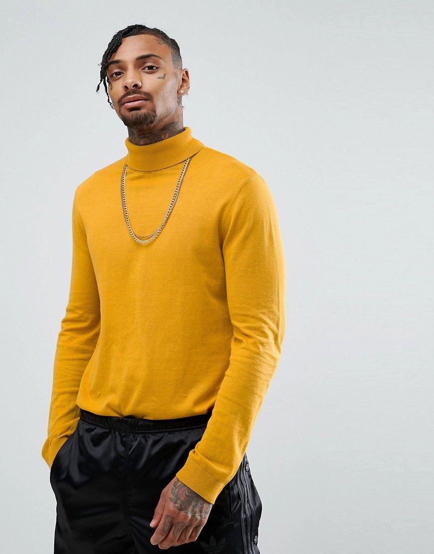 99c6aa11b ASOS Roll Neck Cotton Sweater In Mustard - Yellow