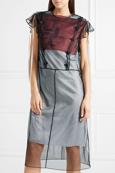 + Andy Warhol Foundation Layered Tulle And Printed Satin Midi Dress - Black CALVIN KLEIN 205W39NYC 7HxAxFR